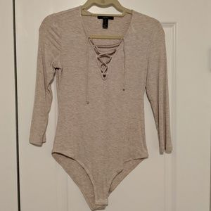 Forever 21 Oatmeal Tie Front One Piece Bodysuit